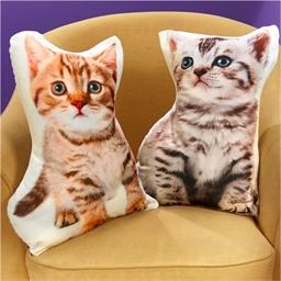 Coussin forme chaton Roux, Gris ou Les 2