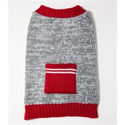 Pull poche gris / rouge