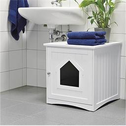 Maison de toilette pour chat Blanc ou Gris