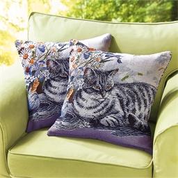 Lot de 2 housses coussin chat tigré